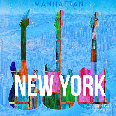 New York City Music Scene Poster by Edward Fielding