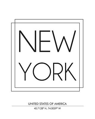 New York City Print With Coordinates Poster