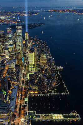 Poster featuring the photograph New York City Remembers 911 by Susan Candelario