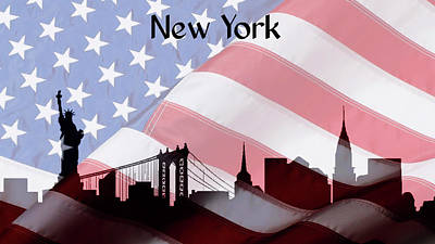New York City Skyline American Flag Poster