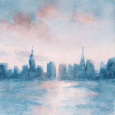 New York City Skyline Coral And Aqua Poster by Beverly Brown