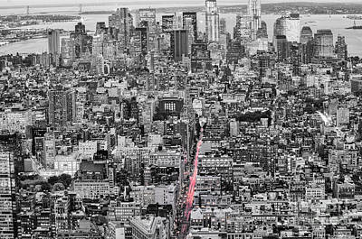 New York City Skyline From The Empire State Observation Deck In Black And White - Manhattan Island   Poster by Silvio Ligutti