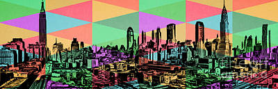 New York City Skyline Rainbow Poster by Edward Fielding