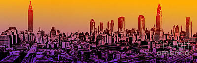 New York City Skyline Sunset Painting Poster by Edward Fielding