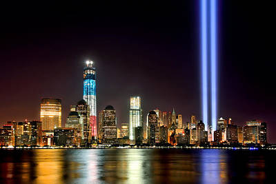 New York City Skyline Tribute In Lights And Lower Manhattan At Night Nyc Poster by Jon Holiday
