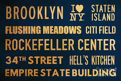 New York City Subway Sign Typography Art 16 Poster by Nishanth Gopinathan