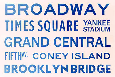 New York City Subway Sign Typography Art 5 Poster