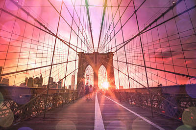 New York City - Sunset On The Brooklyn Bridge Poster by Vivienne Gucwa