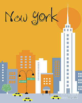 New York City Vertical Skyline - Empire State At Dawn Poster by Karen Young
