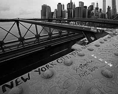 New York City You're Beautiful Brooklyn Bridge Ny Black And White Poster
