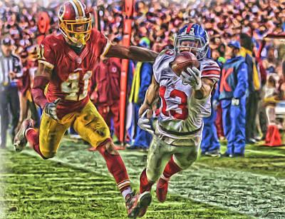 New York Giants Odell Beckham Jr Oil Art Poster by Joe Hamilton