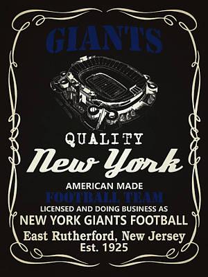 New York Giants Whiskey Poster by Joe Hamilton