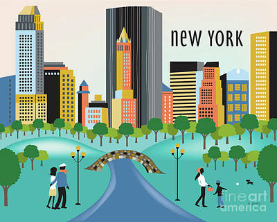 New York Horizontal Skyline - Central Park Poster by Karen Young