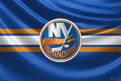 New York Islanders - 3 D Badge Over Silk Flag Poster by Serge Averbukh