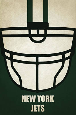 New York Jets Helmet Art Poster by Joe Hamilton