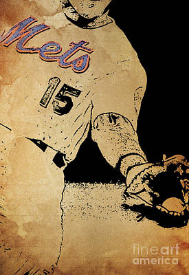 New York Mets 15 Red And Blue Vintage Cards On Brown Background Poster