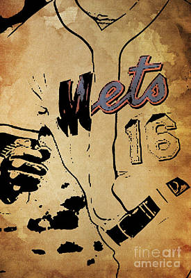 New York Mets 16 Red And Blue Vintage Cards On Brown Background Poster