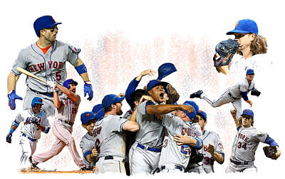 New York Mets 2015  Metropolitan Champions Poster by Iconic Images Art Gallery David Pucciarelli