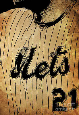 New York Mets 21 Red And Blue Vintage Cards On Brown Background Poster