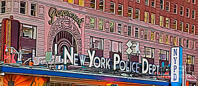 New York Police At Paramount Poster by Terry Weaver