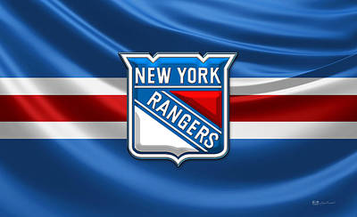 New York Rangers - 3d Badge Over Flag Poster