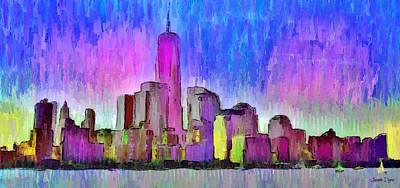 New York Skyline 4 - Pa Poster by Leonardo Digenio