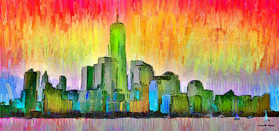 New York Skyline 6 - Pa Poster by Leonardo Digenio