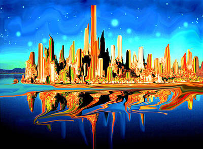 New York Skyline In Blue Orange - Modern Art Poster