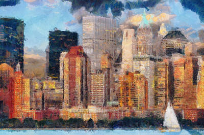 New York Skyline Painting Art - Manhattan Hudson View Poster by Wall Art Prints