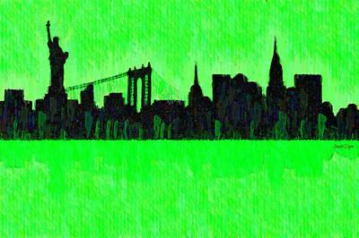 New York Skyline Silhouette Green - Pa Poster