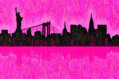 New York Skyline Silhouette Pink - Pa Poster
