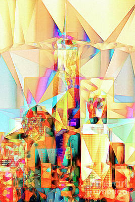 New York Skyline World Trade Center In Abstract Cubism 20170326 Poster by Wingsdomain Art and Photography