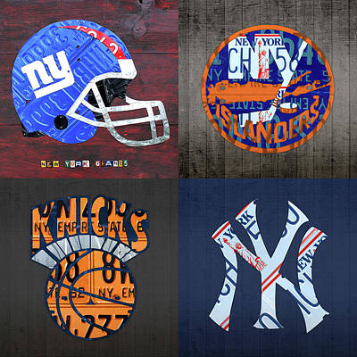New York Sports Team License Plate Art Collage Giants Islanders Knicks Yankees Poster