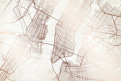 New York Street Map Colorful Modern Minimalist Copper Poster