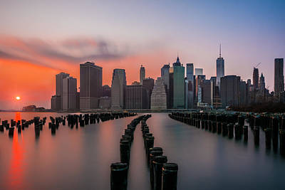 Poster featuring the photograph New York Sunset by RC Pics