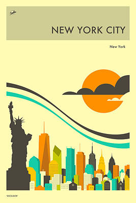 New York Travel Poster Poster by Jazzberry Blue