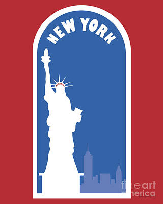 New York Vertical Skyline - Statue Of Liberty Poster