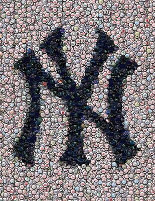 New York Yankees Bottle Cap Mosaic Poster by Paul Van Scott