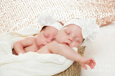 Newborn Twins Sisters Sleeping In Basket And Hugging Each Other Poster by Michal Bednarek