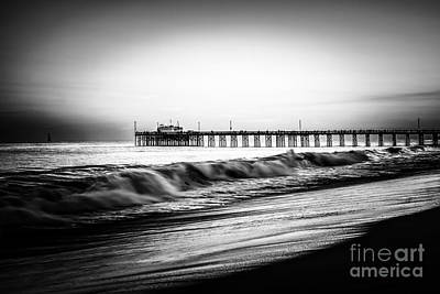 Newport Balboa Pier Black And White Picture Poster by Paul Velgos