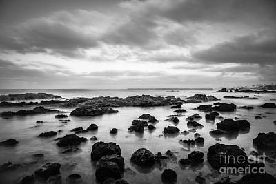 Newport Beach Tide Pools Black And White Photo Poster