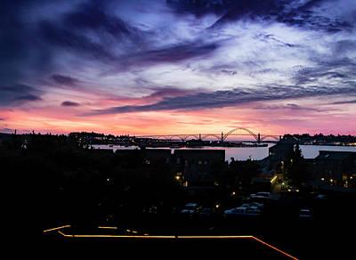 Newport Bridge Sunset Poster by Jean Noren
