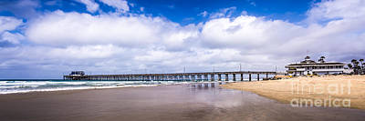 Newport Pier Panorama In Newport Beach California Poster by Paul Velgos
