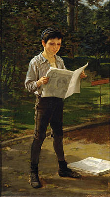 Newsboy Reading The Paper Poster