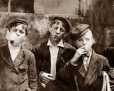 Newsboys Smoking - 1910 Child Labor Photo Poster by War Is Hell Store