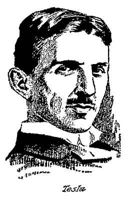 Poster featuring the digital art Newspaper Nikola Tesla  by Daniel Hagerman
