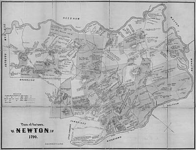 Newton Ma City Plans From 1700 Black And White Poster by Toby McGuire