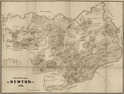 Newton Ma City Plans From 1700 Sepia Poster