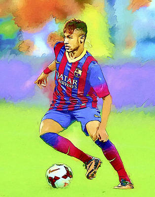 Neymar Football Soccer Landscape Art Painting Poster by Andres Ramos