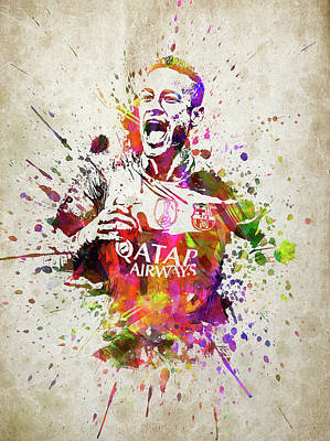 Neymar In Color Poster by Aged Pixel